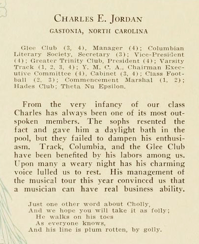 Biographical sketch of Charles E. Jordan, from the Trinity College yearbook <i>The Chanticleer</i>, 1923.  Image courtesy of the Duke University Archives, presented on DigitalNC.