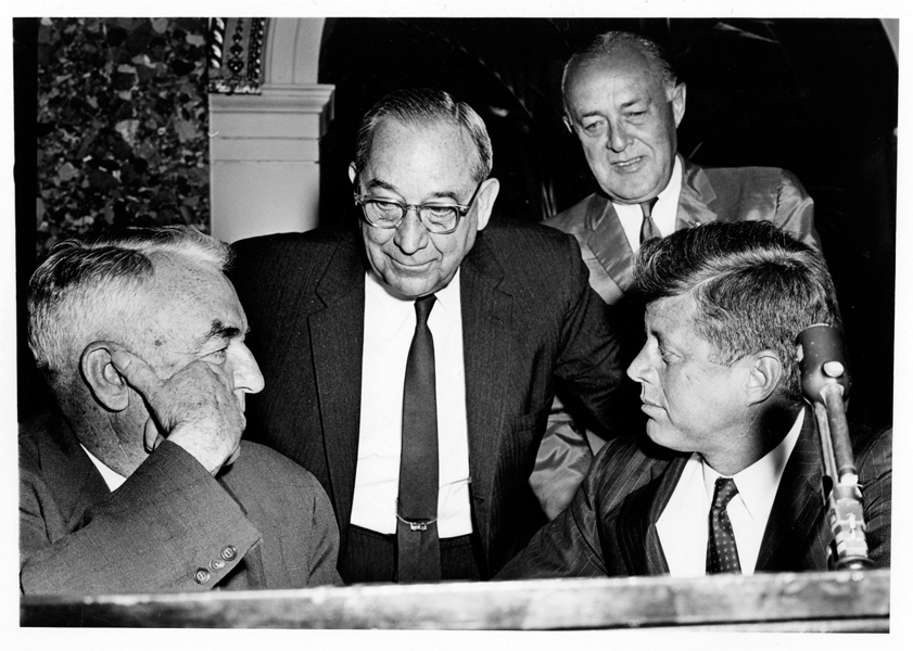 Photograph of B. Everett Jordan (center) with John F. Kennedy (right), Sam Ervin (left), and Harold Cooley (rear).  Image circa 1960-63.  Courtesy of East Carolina University Digital Collections.