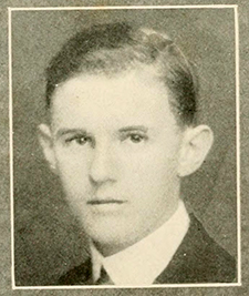 A photograph of Henry Wiseman Kendall from the 1918 Trinity College yearbook. Image from the Internet Archive.
