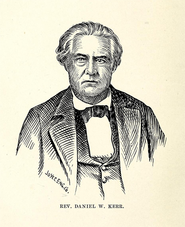 Engraved portrait of the Rev. Daniel W. Kerr, by the Joyce Engraving Co., from P. J. Kernodle's <i>Lives of Christian Ministers</i>, published 1909 by The Central Publishing Company, Richmond, Virginia.  Presented on Archive.org.