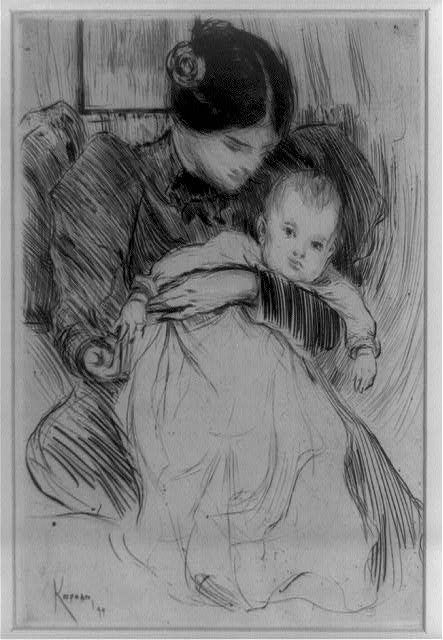 """Mother and Child"" by Augustus Koopman, drypoint, 1899. From the Fine Prints Collection, Library of Congress Prints and Photographs Online Catalog."
