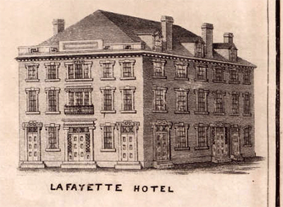 Image of the Lafayette Hotel in Fayetteville, N.C. Excerpted from John MacRae's 1825 map of Fayetteville.  Call number Cm912c F28 1825, North Carolina Collection, UNC-Chapel Hill.  Presented online at North Carolina Maps. The hotel was Donaldson's first architectural venture and was built for the 1825 visit of General Lafayette.