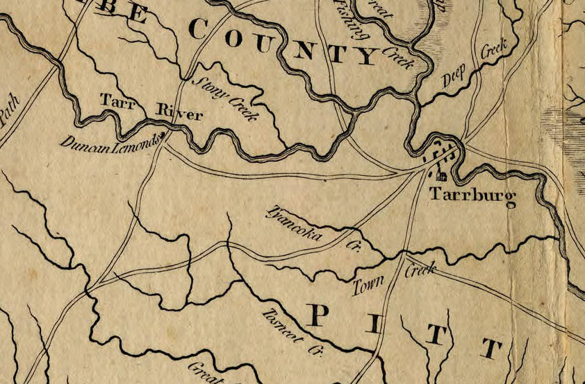 "Closeup view of a portion of the Mouzon Map, showing the Tarr River (to the left of ""Tarrburg"") with ""Duncan Lamonds"" just below. <i>Mouzon Map</i>, by Henry Mouzon, published 1775 by John Bennett and Robert Sayer.  From the collections of the State Archives of North Carolina.  View of entire map available online at North Carolina Maps at the University of North Carolina, Chapel Hill."