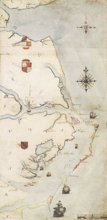 Map of the Roanoke area by John White, 1585. Image from the Wikimedia Commons.