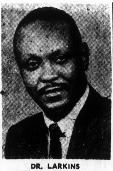 """Dr. Larkins,"" photograph. From <i>The Carolina Times</i> (Durham, N.C.), October 17, 1970.  Presented online by DigitalNC.  Image used pursuant to useage statement for educational purposes."