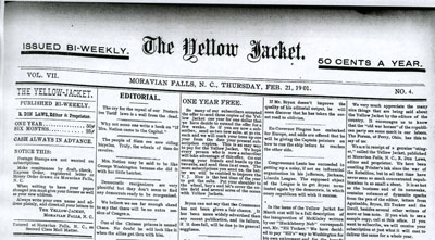 Image of the masthead R. Don Laws' <i>The Yellow Jacket</i> (Moravian Falls, N.C.), Thursday, February 21, 1901.  From the collections of the Government & Heritage Library, State Library of North Carolina.