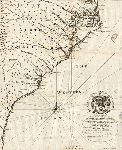 John Lawson's 1709 map of North Carolina. Image from NC Maps.