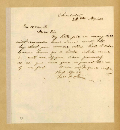 Image of letter from Mrs. Charles Lee Cochrane to Lawrence O'Bryan Branch, April 24, 1862.  From the Lawrence O'Bryan Branch Papers, State Archives of North Carolina, Digital North Carolina Collections.