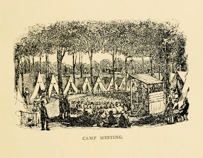 Pictorial depiction of a Methodist camp meeting, from W. L. Grissom's <i>History of Methodism in North Carolina</i>, published 1905 by the Publishing House of the M.E. Church South. Presented on Archive.org. Lee was apparently at a camp meeting in Hillsborough, N.C. in 1816 when he became sick and died.