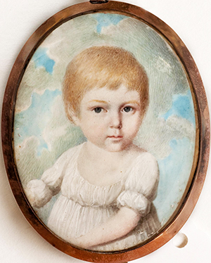 "A miniature portrait of Joseph Leech's daughter, Mary ""Polly"" Jones Leech. Image from Tryon Palace."