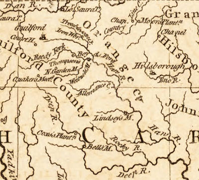 "Closeup section of Thomas Kitchin's 1781 map of ""The seat of war in the southern part of Virginia, North Carolina, and the northern part of South Carolina.""  Lindley's Mill is shown near the center of the image along a tributary of the Haw River.  Published 1781 by R. Baldwin, detached from the London Magazine, Vol. 50 (June 1781).  From the North Carolina Collection, on North Carolina Maps."