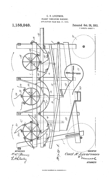 "C. R. Livermon's ""Peanut-threshing machine,"" Patent drawing publication Number US1158248 A, publication date October 26, 1915.  Presented by Google Patents."