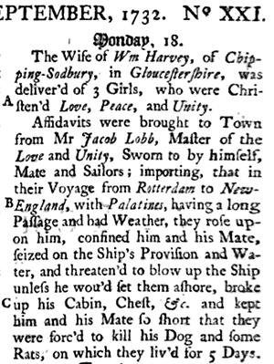 The report of Jacob Lobb's imprisonment by his own passengers in 1732. Image from Google Books.