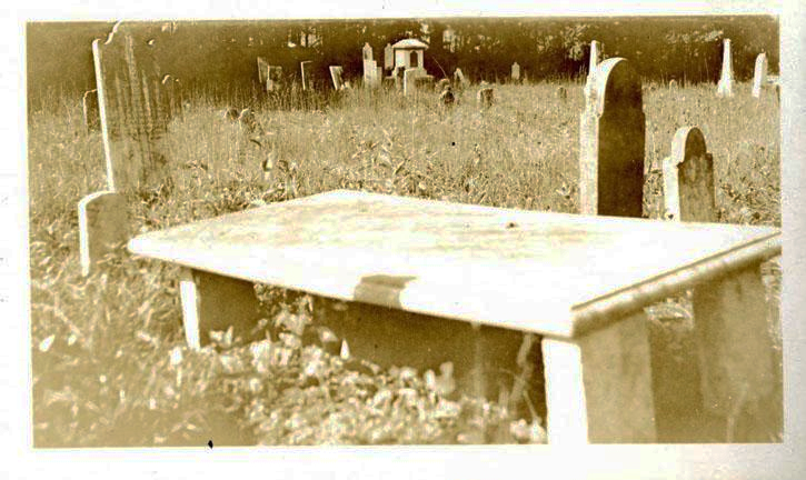 Photograph of Matthew Locke's grave, Thyatira Churchyard, Rowan County, 1926.  Image from the collections of the North Carolina Museum of History.