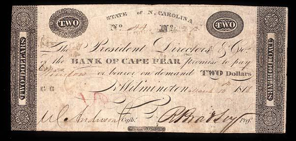 Photograph of a note drawn on the Bank of Cape Fear, circa 1818.  John London was president of the bank in Wilmington from 1811 to 1816.  Image courtesy of the North Carolina Museum of History.