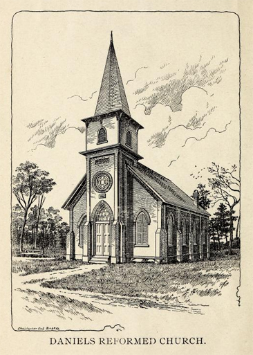 "Engraved image of ""Daniel's Reformed Church,"" by Christopher Engraving, Richmond, Virginia.  From A. Nixon's <i>History of Daniel's Evangelical Lutheran & Reformed Churches</i>, published 1898 by A. L. Crouse & Son, Hickory, NC.  Presented on Archive.org.  The first church at Daniel's was built during Andrew Loretz's time as pastor and he was buried in the churchyard."