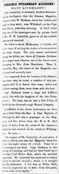 """Terrible Steamboat Accident! Many Lives Lost,""  February 18, 1858, the <i>Fayetteville Observer</i> (Fayetteville, NC)."