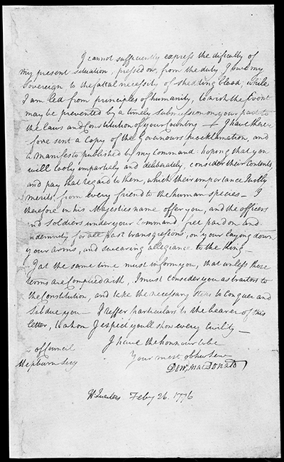 MacDonald's proclamation of February 26, 1776, just before the Battle of Moore's Creek Bridge. Image from the State Archives of North Carolina.