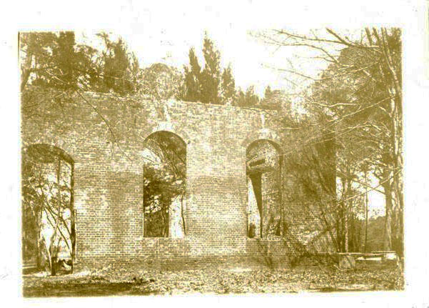 "Photograph of the ruins of St. Philips Church in ""Old Brunswick Town"", Brunswick County, N.C. Image 1929. Item H.1929.18.1 from the collections of the N.C. Museum of History.  Used courtesy of the North Carolina Department of Cultural Resources."