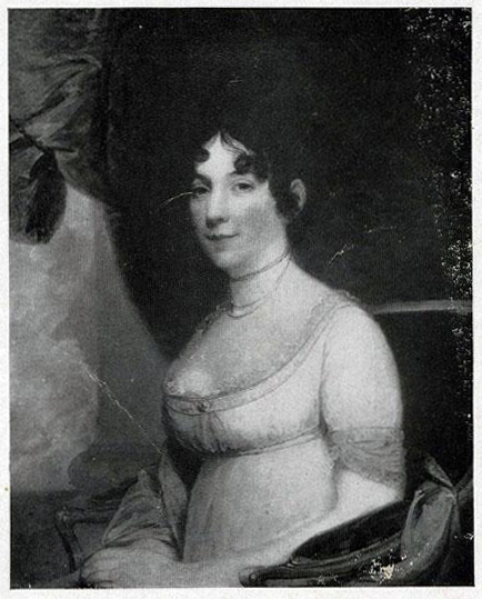 Photographic image of Gilbert Stuart's portrait of Dolley Madison. Stuart painted Dolley Madison's portrait in 1804.  Photograph of portrait taken circa 1921. Item H.1921.14.3 from the collections of the North Carolina Museum of History.