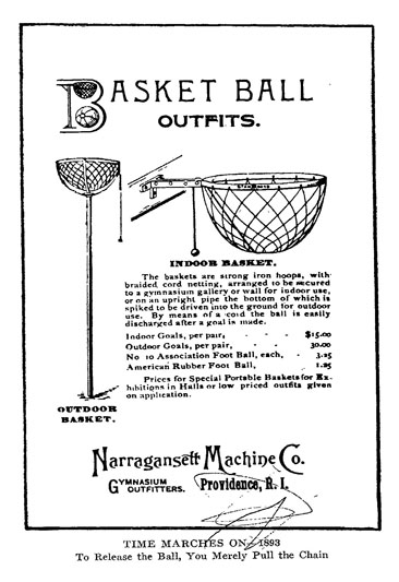 Image of an early basketball equipment advertisement from 1893.  From James Naismith's <i>Basket Ball : Its origin and Development</i>, p. [94-95], published 1941 by Association Press, New York.  Presented on Archive.org.