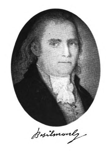 Portrait of Captain Basil Manly (born 1748), father of Rev. Basil Manly. From Louise Manly's <i>The Manly Family: an Account of the Descendants of Captain Basil Manly of the Revolution, And Related Families</i>, p. [1], published 1930, Keys Printing Co., Greenville, S.C. Presented on Hathi Trust.