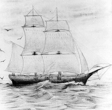 A sketch of the USS Bainbridge made in 1862 by George H. Rogers. John Manning commanded this vessel from 1851 to 1853. Image from the U.S. Navy Naval Historical Center.