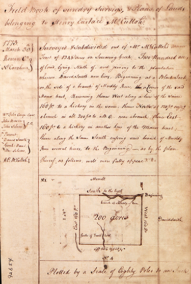 The first page of Henry Eustace McCulloh's survey book, showing a date of 1773. Image from the Southern Historical Collection, University of North Carolina at Chapel Hill.