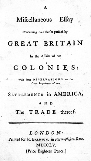 The title page of Henry McCulloh's 1755 pamplet, A miscellaneous essay concerning the courses pursued by Great Britain in the affairs of her colonies. Image from Archive.org.