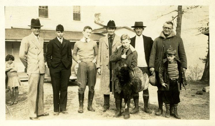 "Black and white photograph of ""Turkey Hunt"", with Col. Don Scott, Maj. L.P McLendon & son, Haywood Smith, Pou Bailey, and C.T. MacClenaghan, circa 1930-1940.  Item H.1952.95.43 from the collections of the North Carolina Museum of History. Used courtesy of the North Carolina Department of Cultural Resources."