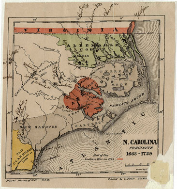 "Map, ""N. Carolina Precincts 1663-1729,"" by George Shroeter and Francis L. Hawks. Publihed by E. J. Hale & Son, Fayetteville, North Carolina, circa 1858.  From the North Carolina Collection, University of North Carolina.  Presented by North Carolina Maps. Robert Mellyne is associated with Bath County and is believed to have owned property near the Pamlico River."