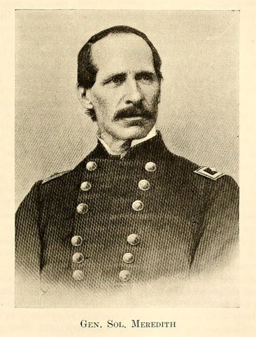 Portrait of General Solomon Meredith, from Jacob Piatt Dunn's <i>Indiana and Indianans,</i> Vol. II, p. 691, published 1919 by the American Historical Society, New York, N.Y.  Presented on Archive.org.