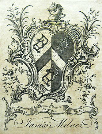 The bookplate of James Milner, who owned an extensive library. Image courtesy of the North Carolina Collection, University of North Carolina Library at Chapel Hill.