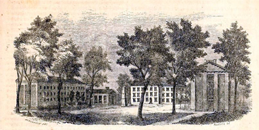 Antebellum era engraving of the University of North Carolina at Chapel Hill. Mitchell graduated from the University in 1821. From Evert A. Duyckinck's <i>Cyclopaedia of American Literature,</i> Vol. I, published 1856.  Presented on Archive.org.