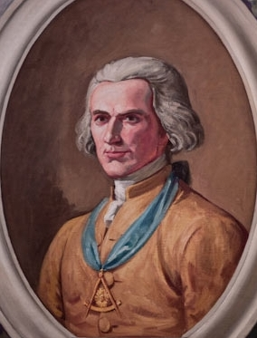 A portrait of Joseph Montfort wearing a Masonic symbol. Image from the Wikimedia Commons.