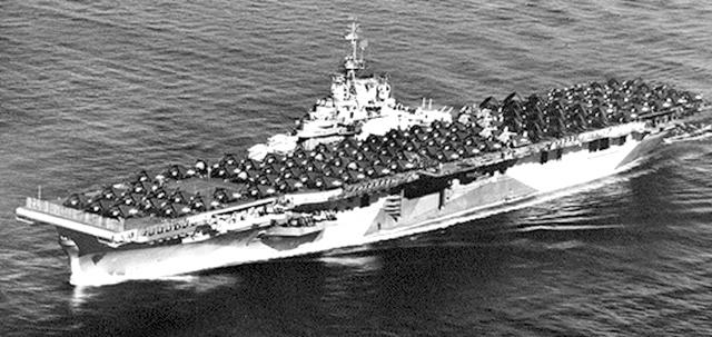 Photograph of the U.S. Navy aircraft carrier <i>USS Bennington</i>, circa 1944.  James O. Moore served on the ship during World War II.  Image from the US Navy at Navy.mil.