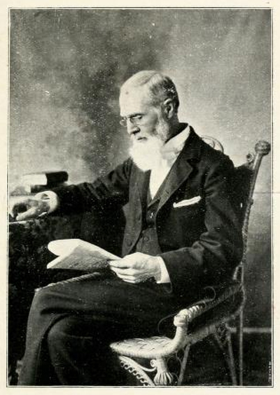 Photograph of Joseph Moore, former principal of the Quaker New Garden Boarding School in Greensboro, NC and leader of its transformation to Guilford College.  Image from <i>The Guilford Collegian</i> Vol. 15, No. 1, October 1905.  Presented on Archive.org.
