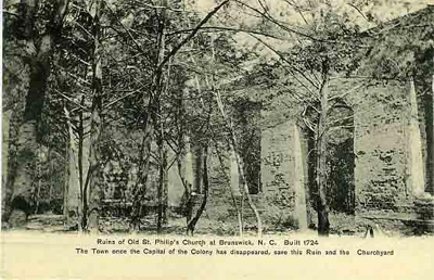 Postcard image of St. Philips Church ruins at Brunwick, NC, circa 1900-1910.  Old Brunswick town was founded by Maurice Moore and his brother, Roger Moore, although the church was most likely built following Moore's death.  Item H.1946.14.57 from the collections of the North Carolina Museum of History.