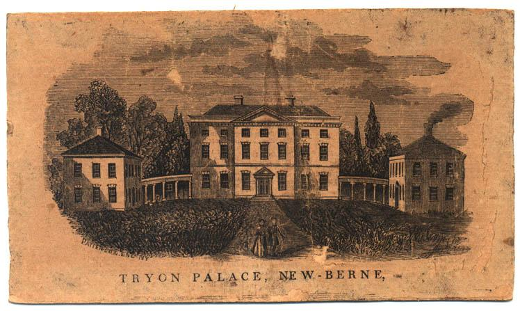 Clipping of a printed engraved image of Tryon Palace, image circa 1820-1850. Archibald Neilson resided at times at Tryon Palace, New Bern, North Carolina. Item H.1914.27.2, from the collections of the North Carolina Museum of History.  Used courtesy of the North Carolina Department of Cultural Resources.