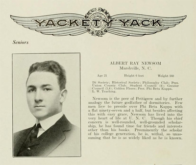 Photograph and entry for Albert Ray Newsom[e] from the UNC Yearbook <i>Yackety Yack</i>, 1915, courtesy of DigitalNC.org.
