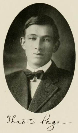 Image of Thaddeus Shaw Page, from the Yackety Yack, [p.59], published 1912 by Chapel Hill, Publications Board of the University of North Carolina at Chapel Hill. Presented on Digital NC.