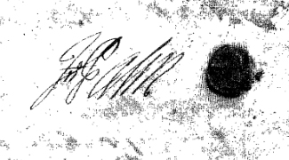 Signature of John Palin on his Will, 1737.  Mars Id. 12.96.19.19, State Archives of North Carolina.  Used courtesy of the North Carolina Department of Cultural Resources.