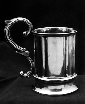 Silver cup made by John C. Palmer between 1847 and 1855. Image from the North Carolina Museum of History.