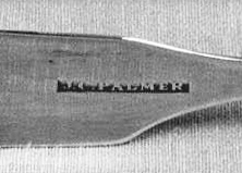 John C. Palmer's hallmark, or maker's mark on a pair of sugar tongs, circa 1840-1850. Image from the North Carolina Museum of History.