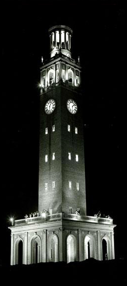 Photograph of the Morehead-Patterson Bell Tower at the University of North Carolina at Chapel Hill, 1953. Image from the North Carolina Museum of History.