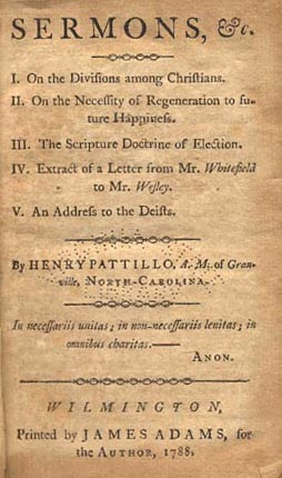 Title page of Henry Pattillo's book of sermons, 1788. Image from the North Carolina Highway Historical Marker Program.