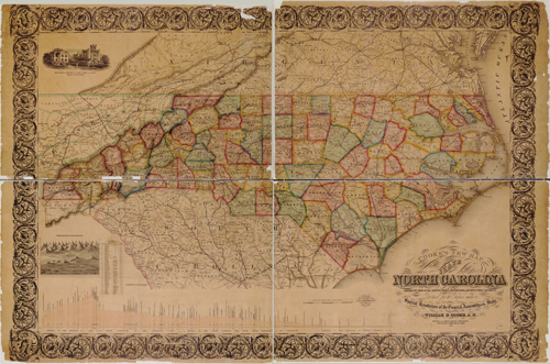 "William Dewey Cooke and Samuel Pearce's  ""New Map of the State of North Carolina,"" published 1857.  From the collections of the Library of Congress."