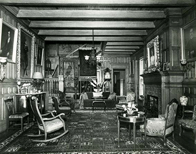 A 1953 photograph of the interior of Richmond Hill, home of Richmond M. Pearson