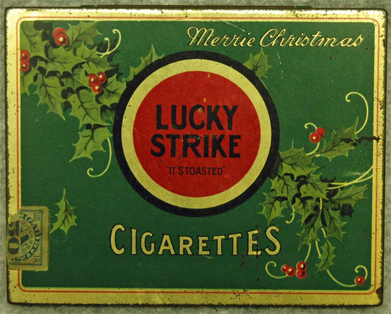 Photograph of Lucky Strike tin, circa 1930-1941.  Item #S.1977.115.1, North Carolina Historic Sites, North Carolina Department of Cultural Resources. Charles Asbhy Penn developed the tobacco blend that became the Lucky Strike cigarette.