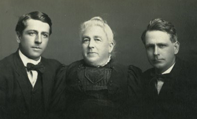 Alice Morgan Pearson with her two sons, Rufus (right) and William (left). Image from East Carolina University.